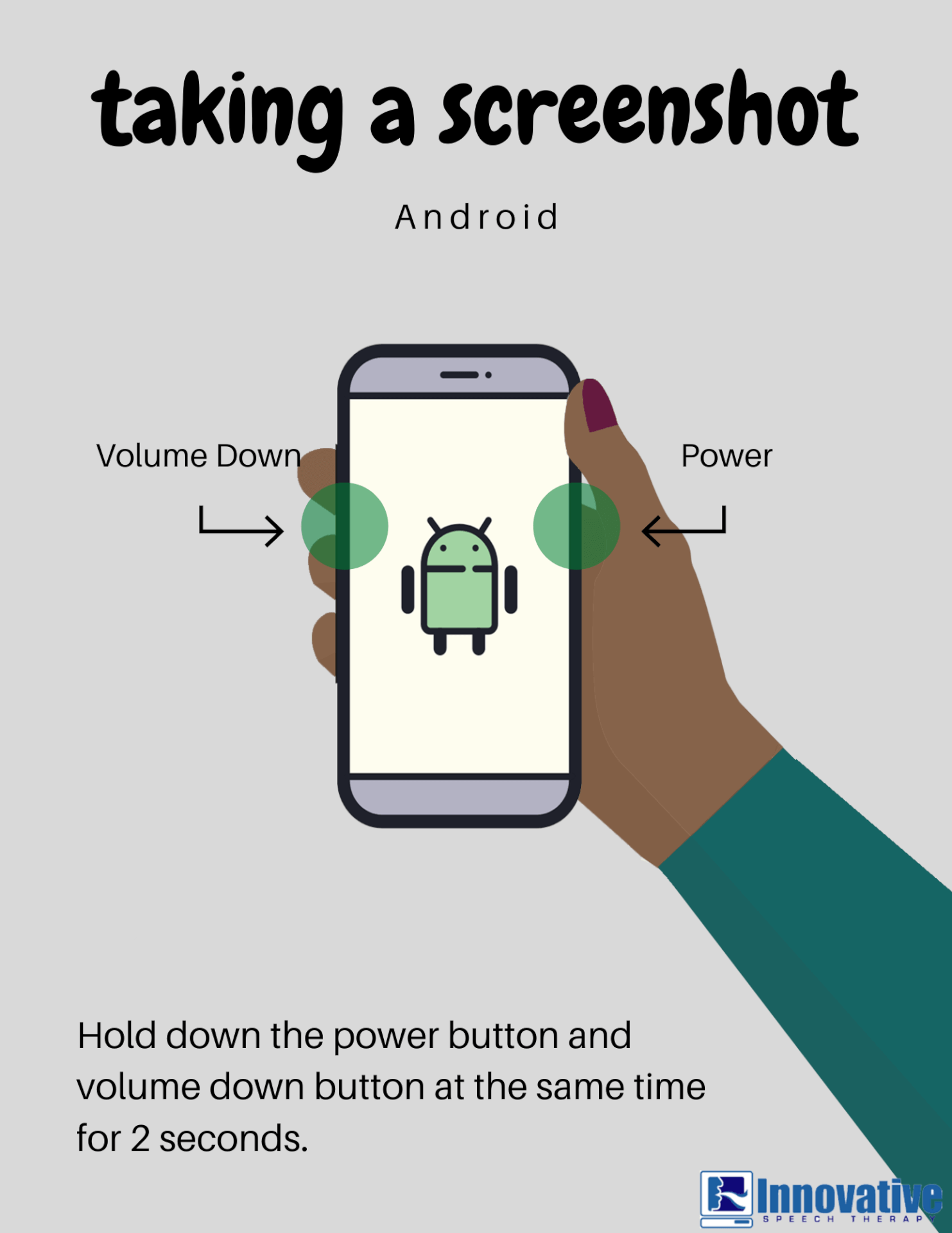 Graphic depicting a hand taking a screenshot on an Android phone. Image text: Taking a screenshot: Android. Hold down the power button and volume button at the same time for 2 seconds.